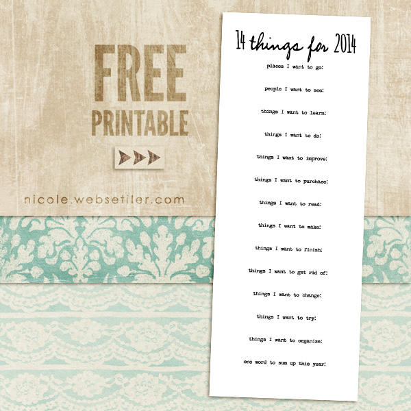 14 Things for 2014 :: Free Printable